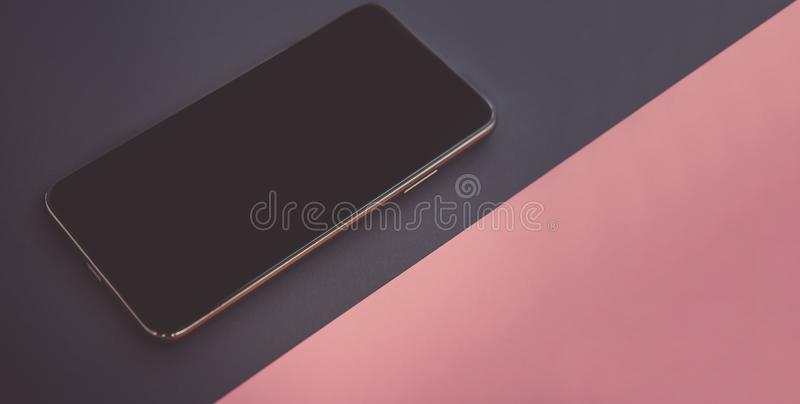 Modern smartphone device with empty screen for app logo royalty free stock photos