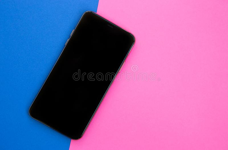 Modern smartphone device with empty screen for app logo royalty free stock photo