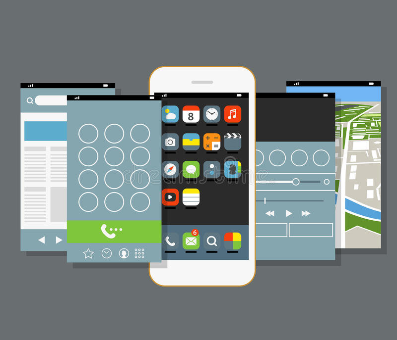 Modern smartphone with different application screens. Design elements royalty free illustration