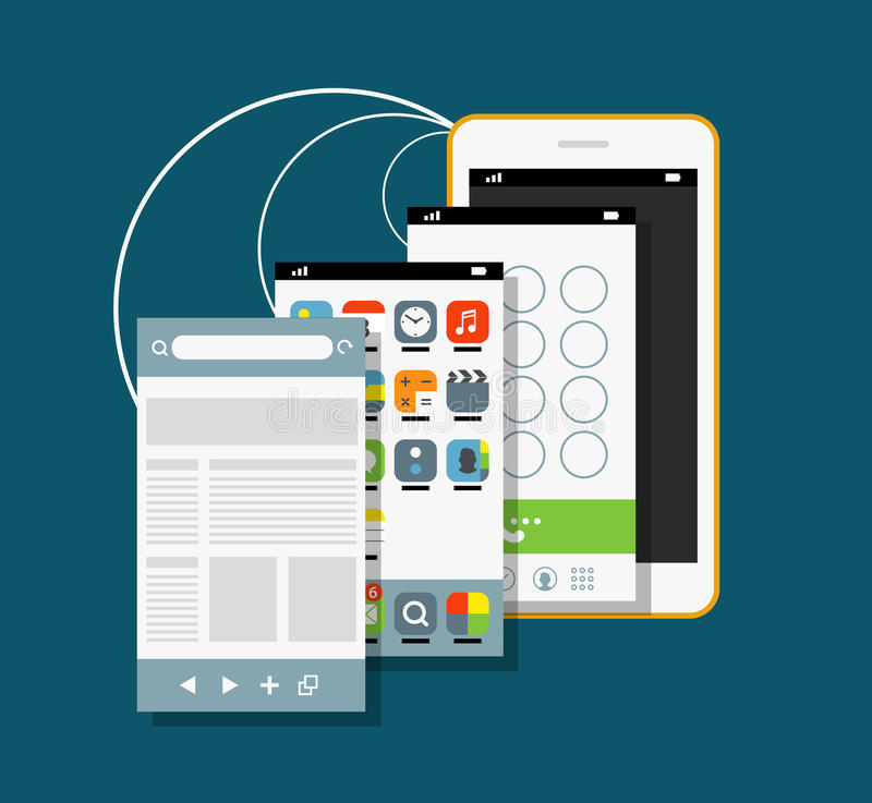 Modern smartphone with different application screens. Vector illustration vector illustration