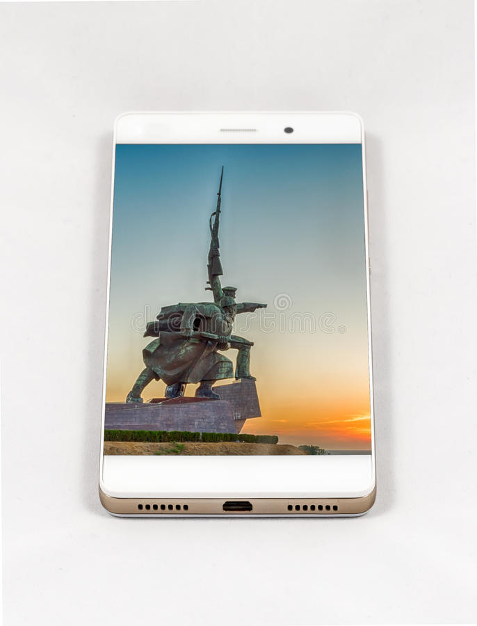 Modern smartphone displaying picture of Sevastopol, Crimea royalty free stock photos
