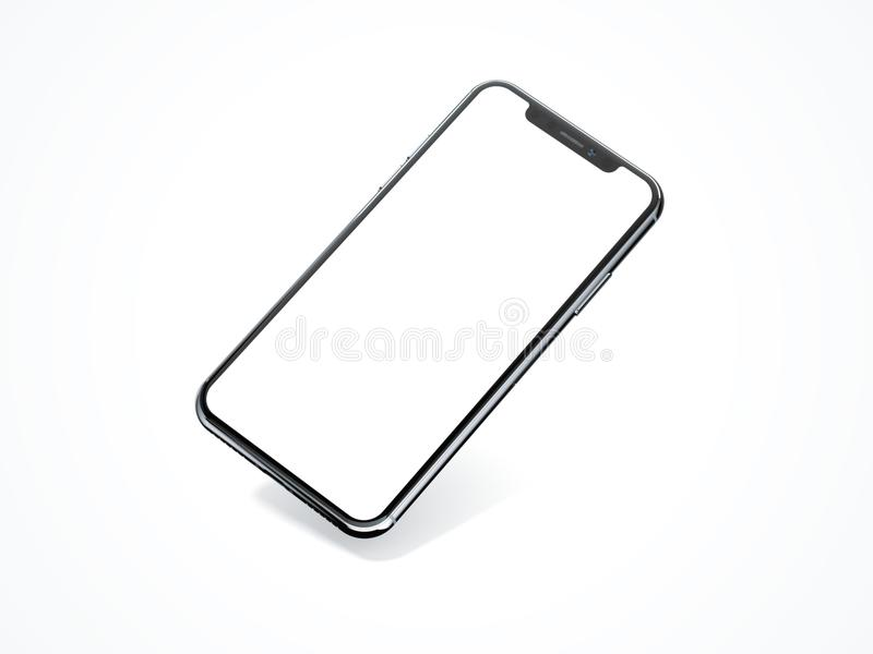 Modern smartphone isolated on white. 3d rendering royalty free illustration