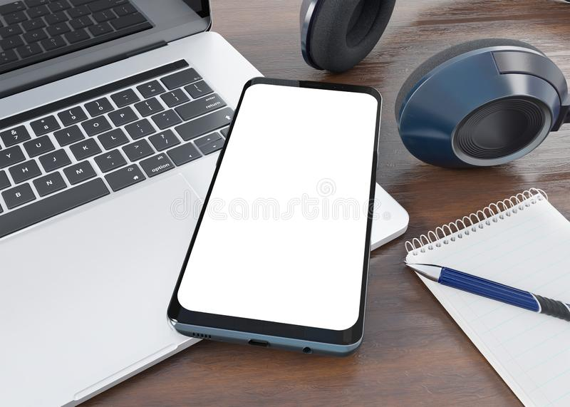 Modern smartphone laying on desktop mockup 3d rendering vector illustration