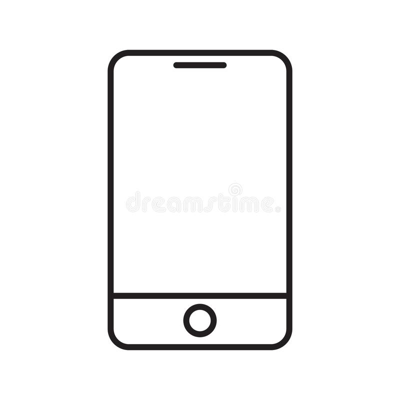 Modern smartphone line icon. Vector illustration on white background stock illustration