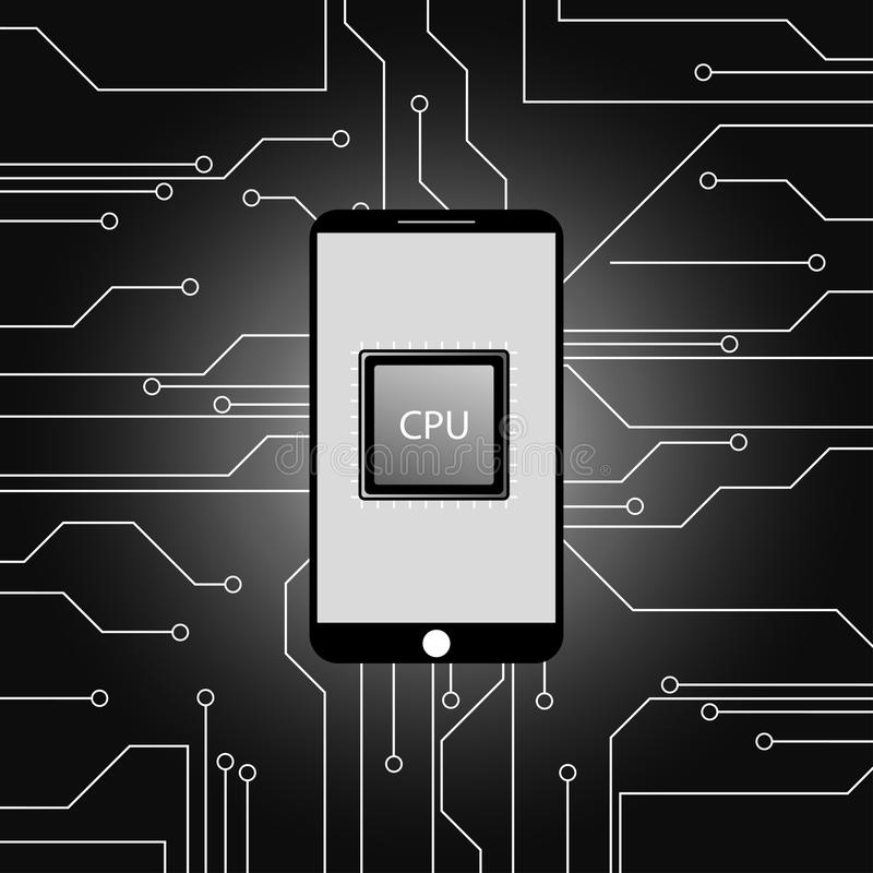 Modern smartphone and Main microprocessor,chip background stock illustration