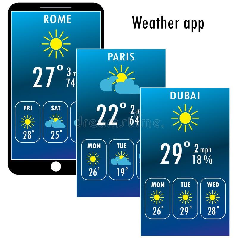 Modern smartphone med väder app på skärmen stock illustrationer