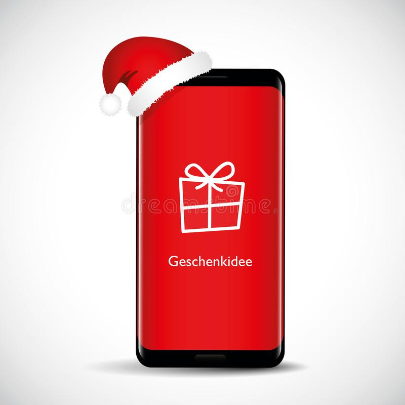 Modern smartphone with red screen and christmas hat as a gift stock illustration