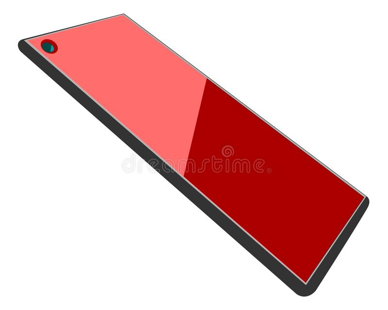 Modern smartphone or tablet with a red glossy screen and camera notch stock photography