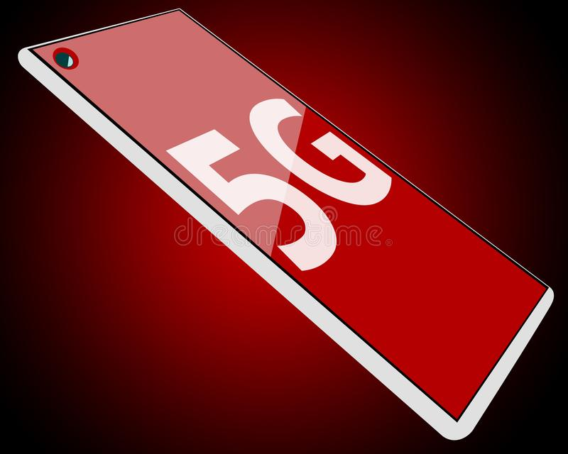 Modern smartphone or tablet with a red glossy screen and 5G text displayed stock photography