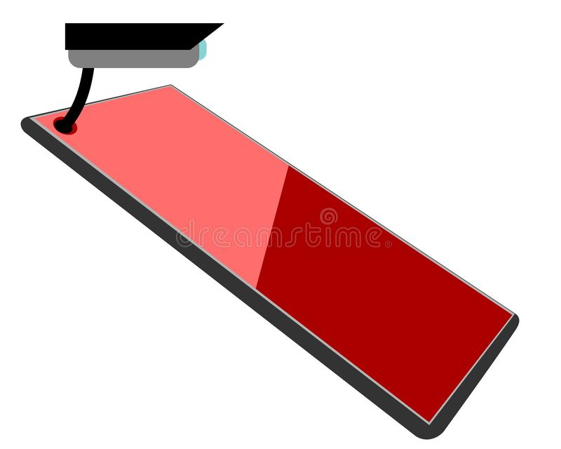 Modern smartphone or tablet with a red glossy screen and spy camera beucase of malware and virus infection royalty free stock photography