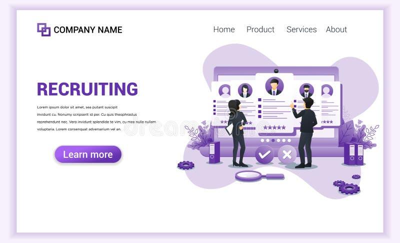 Modern, smidig utformning av rekrytering, presentation för anställning och rekrytering Ansökan om anställning av medarbetare Kan  vektor illustrationer