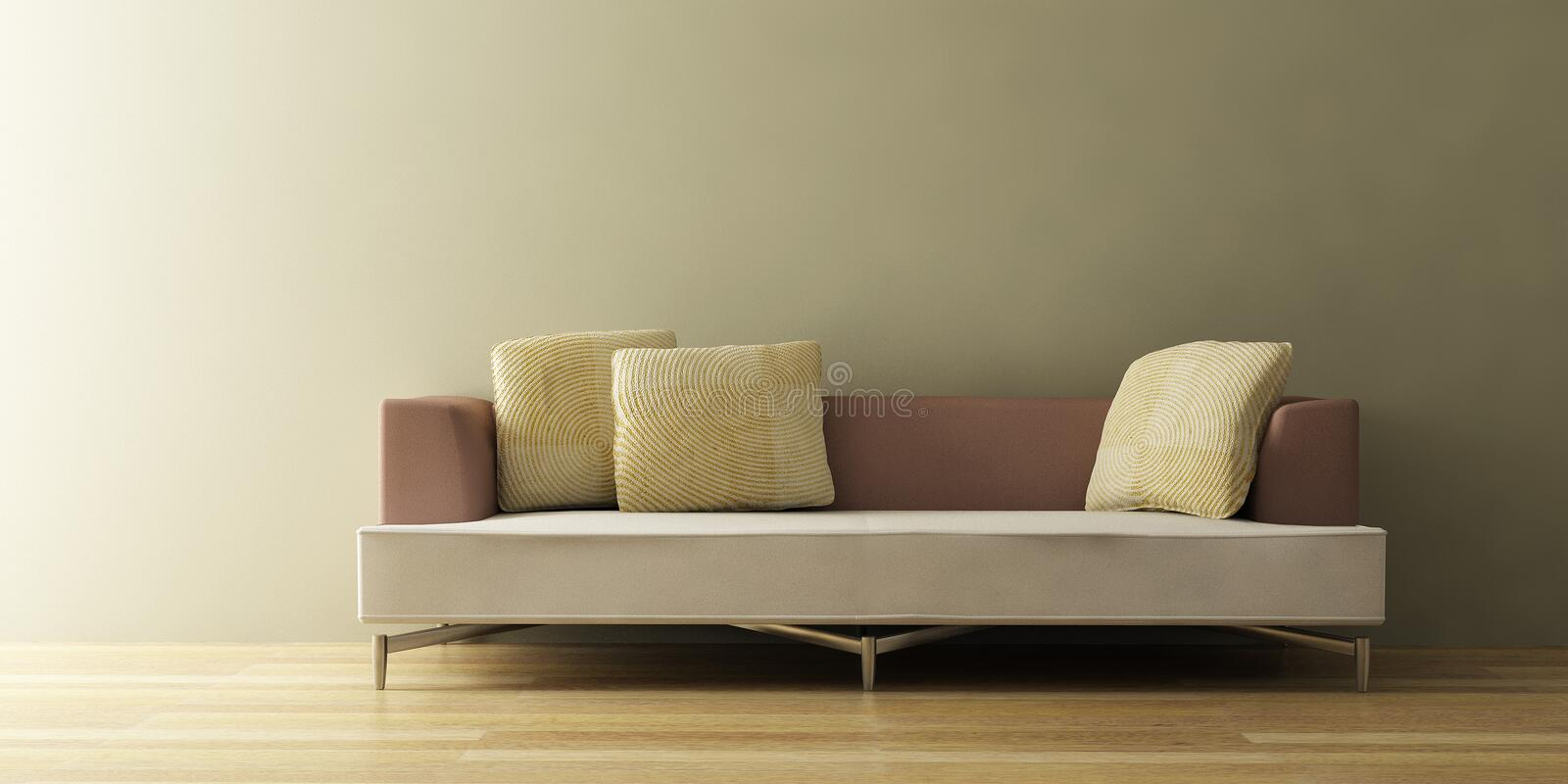 modern sofa 3d royaltyfri illustrationer