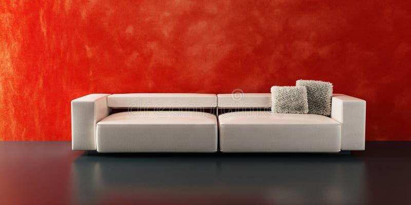 Modern sofa 3D rendering. Modern sofa 3D computer rendering vector illustration