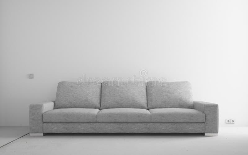 Modern sofa in empty room vector illustration