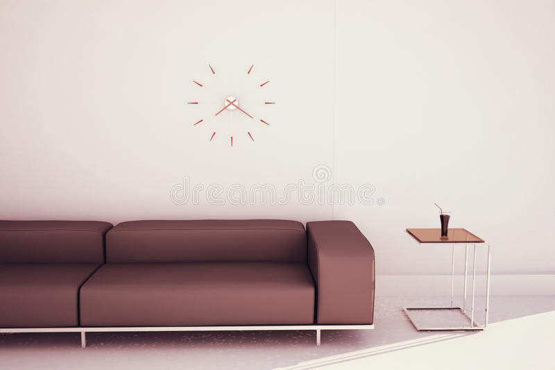 Modern sofa and end table vector illustration
