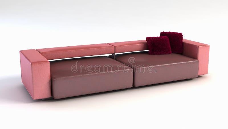 modern sofa för framförande 3d royaltyfri illustrationer