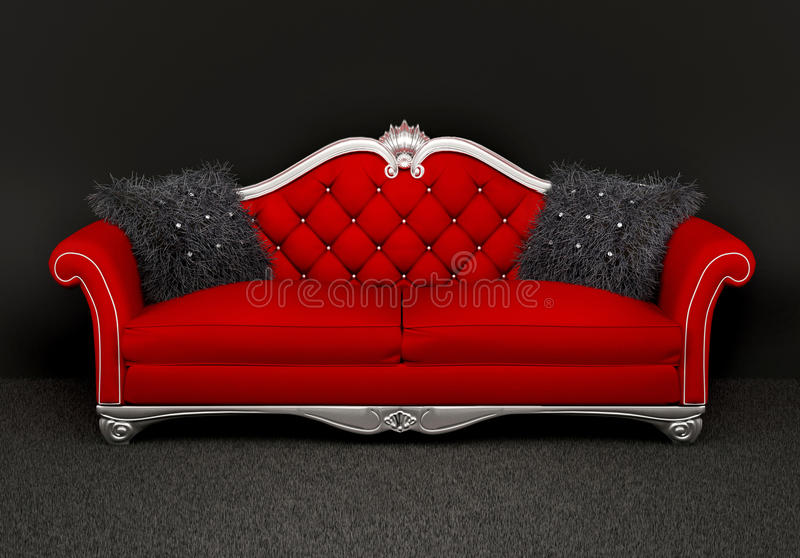 Modern sofa with two furry cushions in interior royalty free illustration