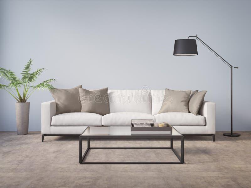Modern soffa i en blå contemprary vardagsrum stock illustrationer