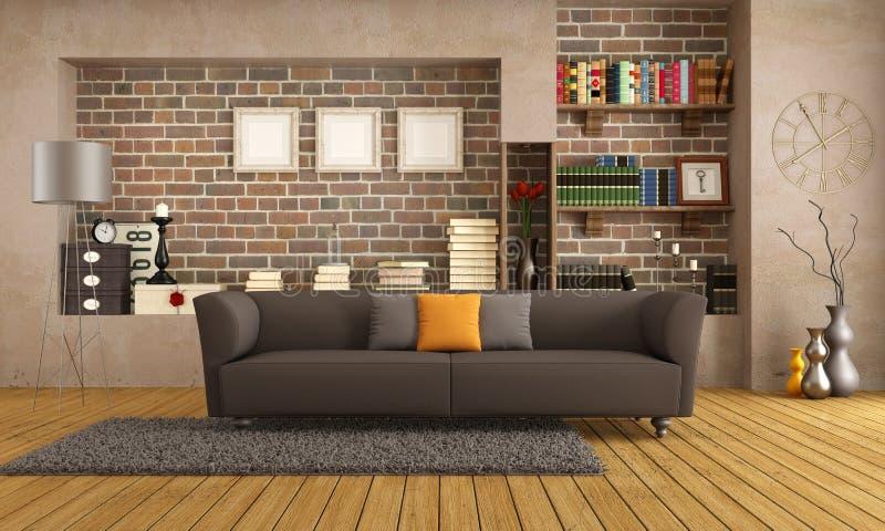 Modern soffa i en tappningvardagsrum royaltyfri illustrationer