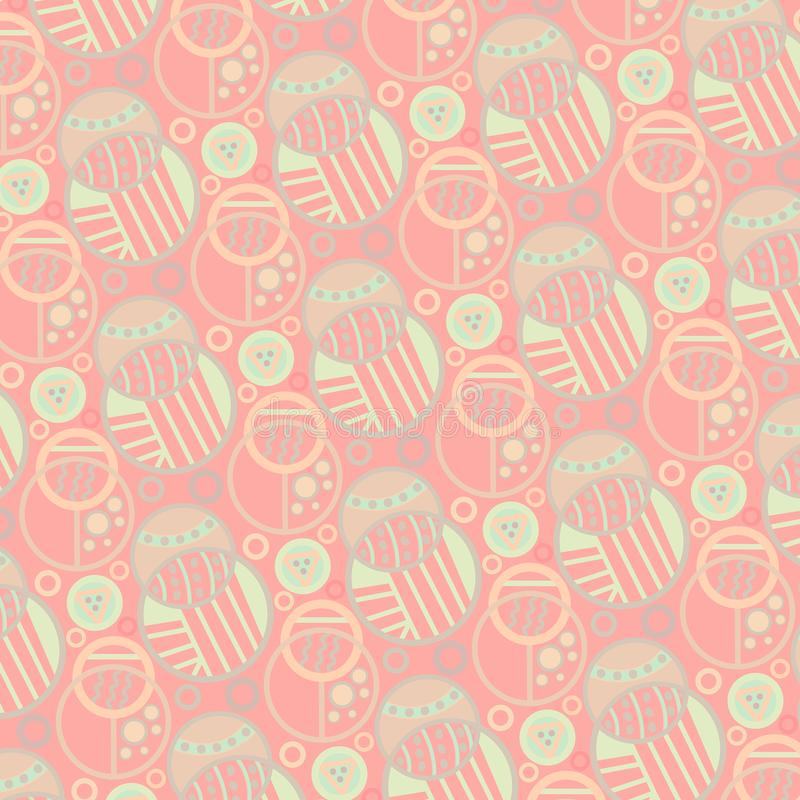 Modern soft pastel colored decorative doodled circles seamless pattern royalty free illustration