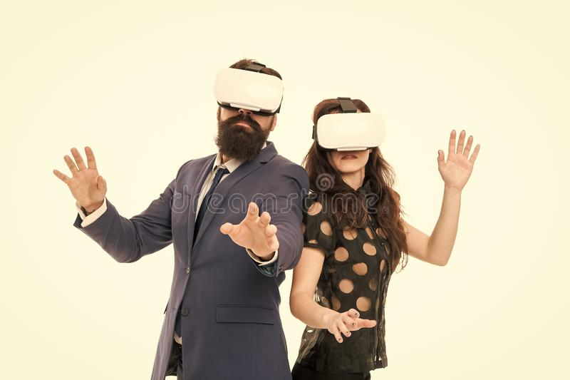 Modern software for business. Just imagine. Business implement modern technology. Couple colleagues wear hmd explore. Virtual reality. Business partners royalty free stock images