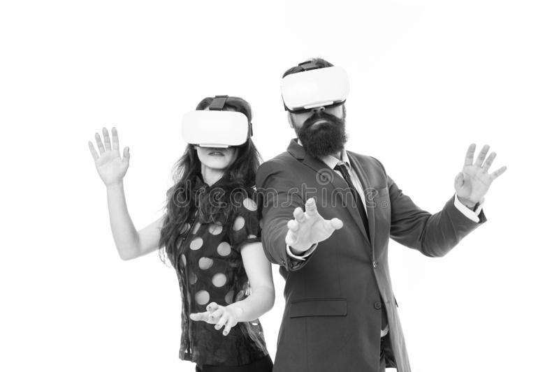 Modern software for business. Just imagine. Business implement modern technology. Couple colleagues wear hmd explore. Virtual reality. Business partners royalty free stock photo