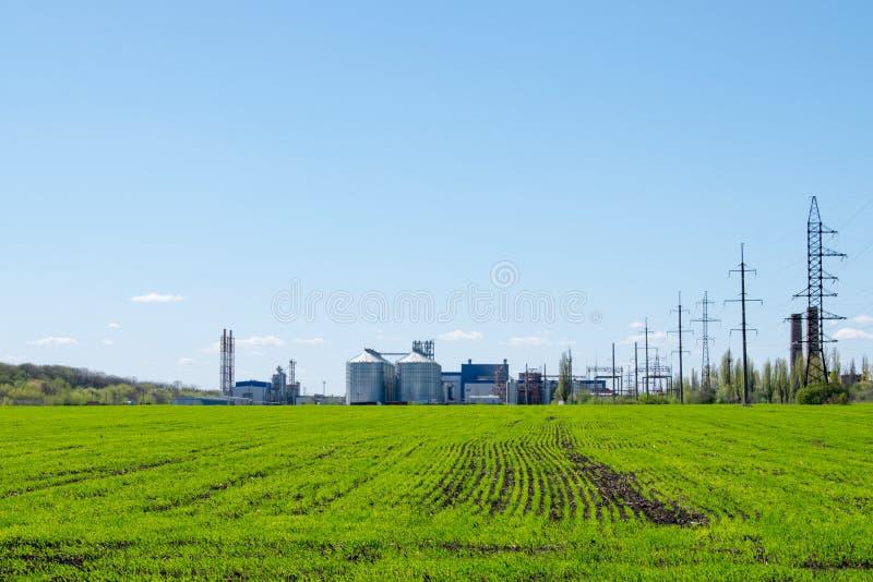 Modern sojabönabearbetningsanläggning, jordbruks- silor mot grönt fält och blå himmel Lagring och uttorkning av korn, vete, havre arkivfoto