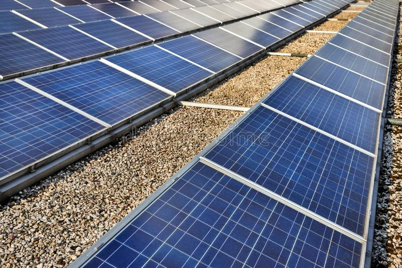 Modern solar cell system on flat roof. Some modern solar cell system on flat roof stock image