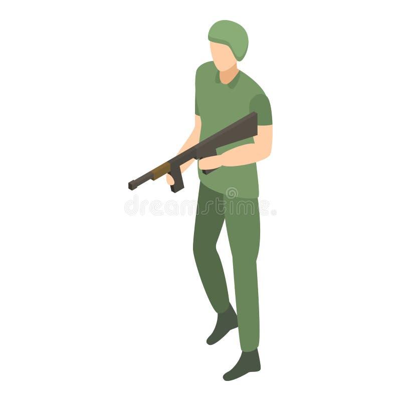 Modern soldatsymbol för armé, isometrisk stil royaltyfri illustrationer