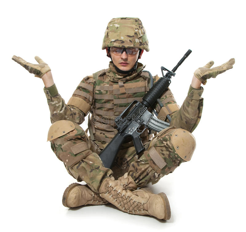 Modern Soldier Meditating Royalty Free Stock Images