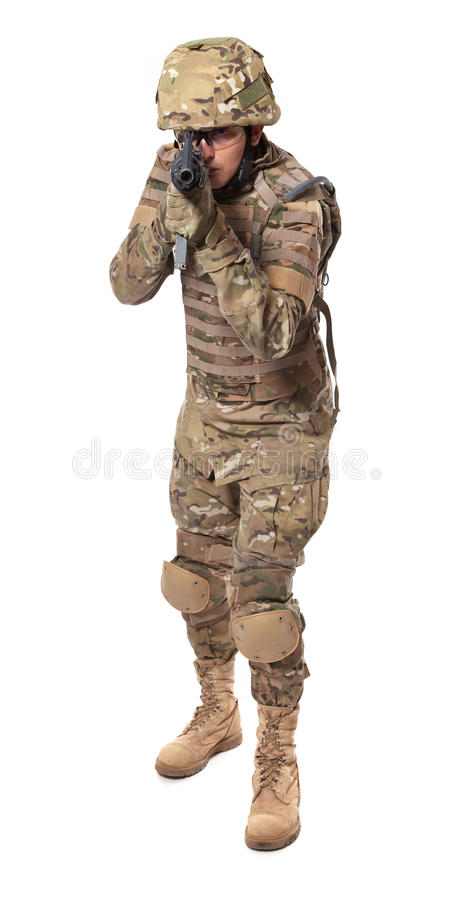 Modern soldier with rifle royalty free stock photos