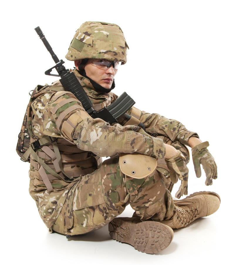 Modern soldier with rifle stock photography