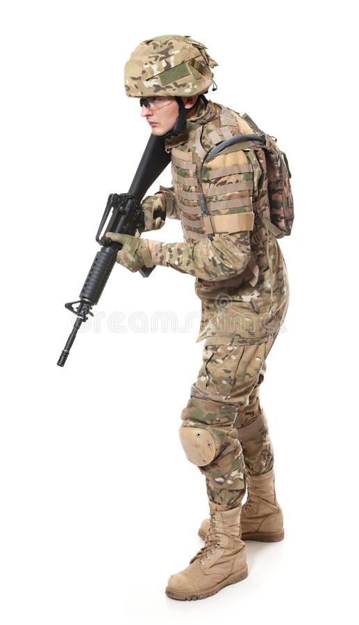 Modern soldier with rifle stock images