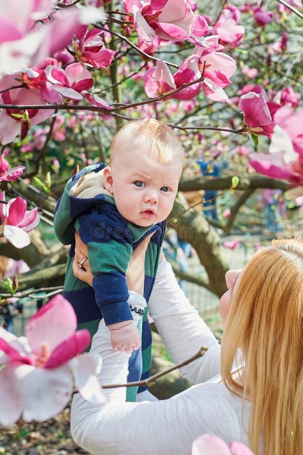 Modern som går med henne, behandla som ett barn sonen i trädgården av blommande magnolior royaltyfri fotografi