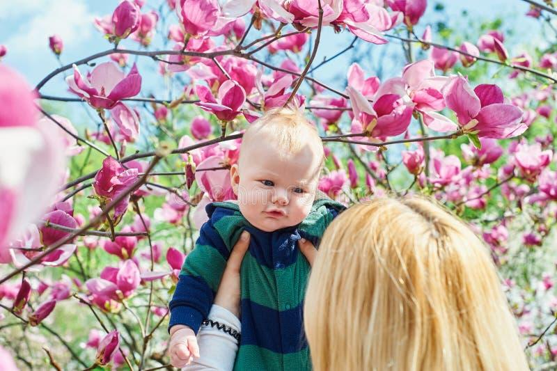 Modern som går med henne, behandla som ett barn sonen i trädgården av blommande magnolior arkivfoto