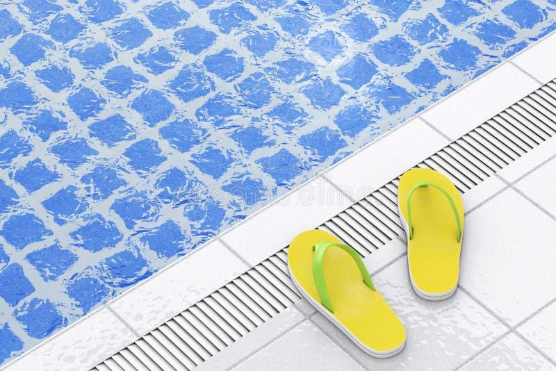 Modern sommar Flip Flops på simbassängen framförande 3d royaltyfri illustrationer