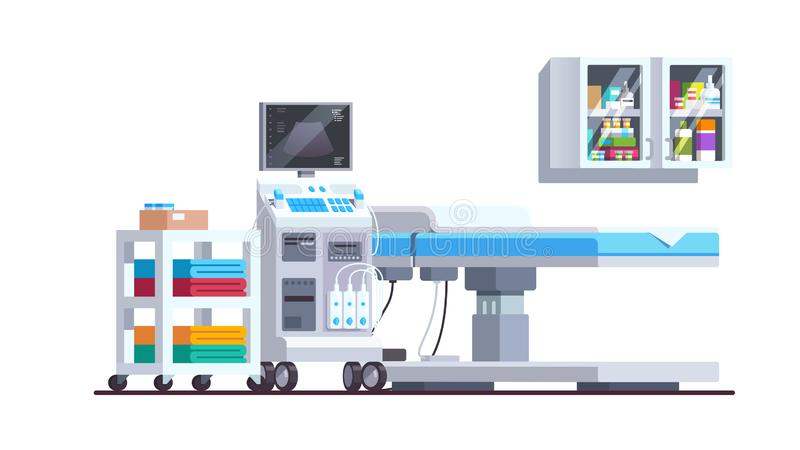Medical checkup equipment with bed and shelves. Modern sonography diagnostics and examination office interior. Ultrasound scanner technology. Medical stock illustration