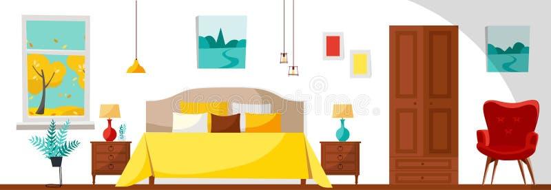 Modern sovruminre med en säng, nightstands, lampor, en garderob, en röd mjuk fåtölj och ett fönster med trädlandskap Plan tecknad stock illustrationer