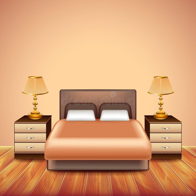 Modern sovruminre med stor säng stock illustrationer