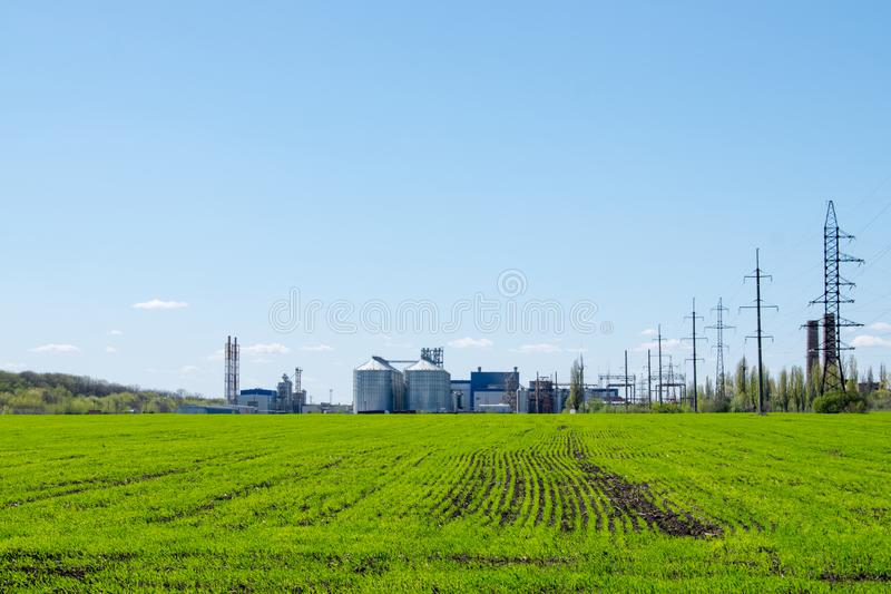 Modern soybean processing plant, agricultural Silos against green field and blue sky. Storage and drying of grains, wheat, corn, stock photo