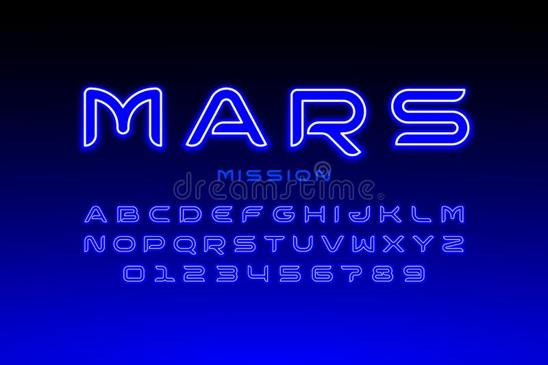 Modern space style typeface vector illustration