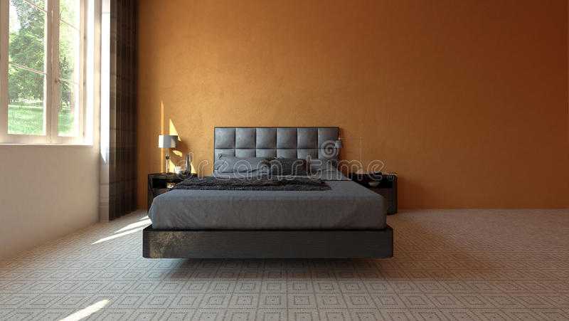 Modern spacious bedroom with orange wall stock illustration