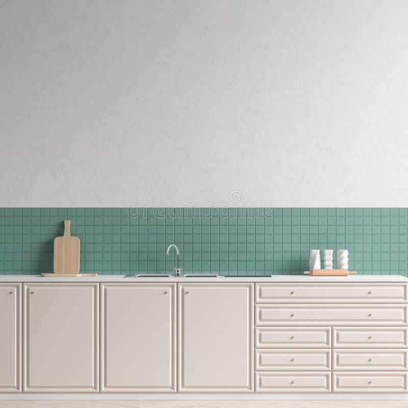 Free Modern Spacious Kitchen Design. Minimalist Kitchen Design With Copy Space. 3D Illustration Stock Photo - 168004430