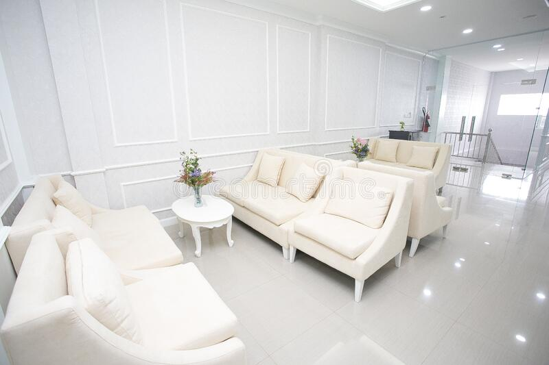 Modern spacious lounge or living room interior royalty free stock photos