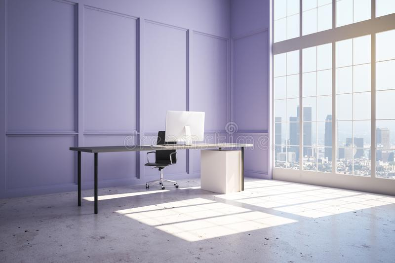 Modern spacious office with lilac wall, concrete floor and city view. New modern office with lilac wall, concrete floor, light table, computer and megapolis view royalty free illustration