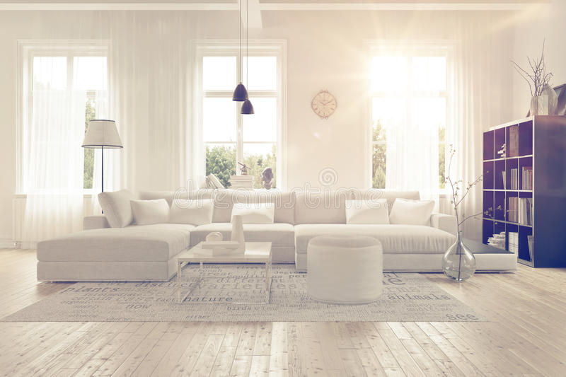 Modern spacious white lounge interior vector illustration