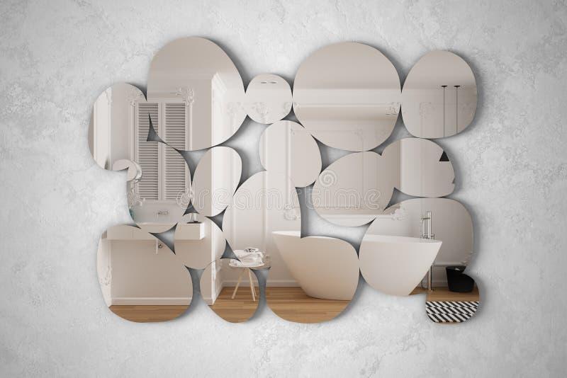 Modern spegel i form av skal som hänger på väggen och reflekterar den inre konstruktionsscenen, ljusvit badrum med badkar. stock illustrationer