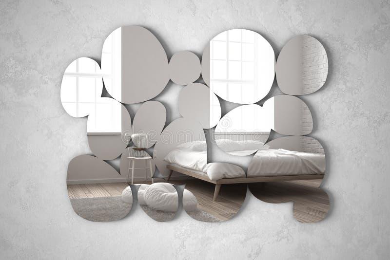 Modern spegel i formen av kiselstenar som hänger på väggen som reflekterar plats för inredesign, det ljusa sovrummet med säng, st vektor illustrationer