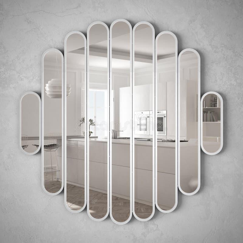 Modern spegel som hänger på väggen som reflekterar platsen för inredesign, ljust kök med det stora fönstret, minimalist vit royaltyfri illustrationer