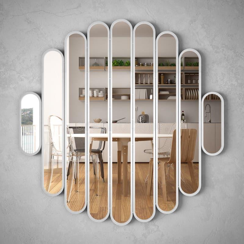 Modern spegel som h?nger p? v?ggen som reflekterar platsen f?r inredesign, ljust vitt och tr?k?k, minimalist vit arkitektur royaltyfri bild
